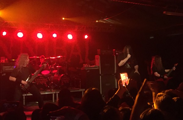 "Cannibal Corpse rips into ""Code of the Slashers"" last night at VIBES Event Center. - MIKE MCMAHAN"