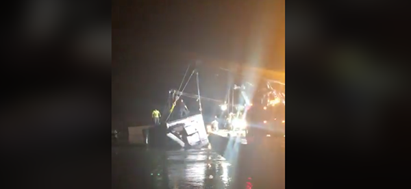 Recovery crews worked for more than an hour to pull the truck out of the water. - FACEBOOK / JUNCTION EAGLE