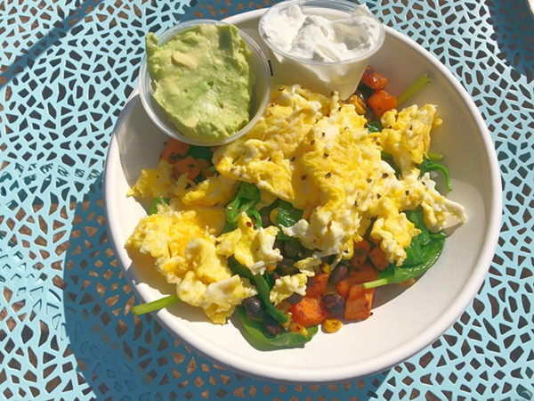 The Good Kind brunch menu features savory items like the Good Morning Bowl. - LEA THOMPSON