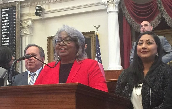 Barbara Gervin-Hawkins speaks to members of the Texas House. - TWITTER / @BRISCOECAIN
