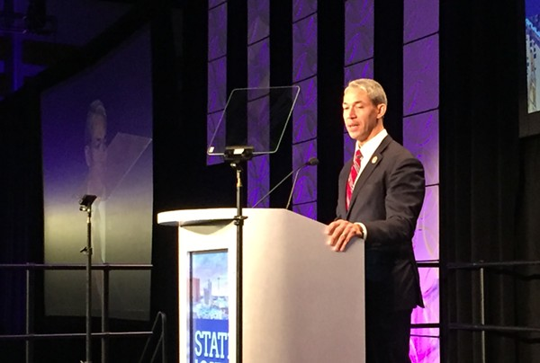 Mayor Ron Nirenberg addresses business and community leaders during his State of the City address. - SANFORD NOWLIN