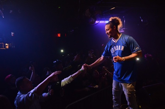 Bizzy Bone greeting fans at Fitzgerald's in 2018 - CHRIS CONDE