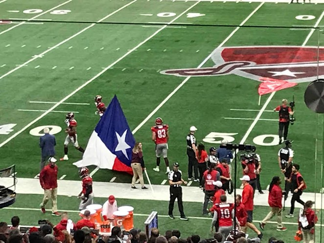 Preparations take place before one of the Commanders' games in the Alamodome. - SHAWN MITCHELL