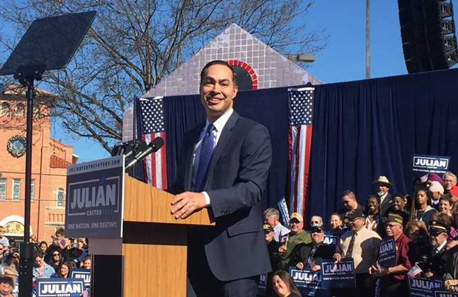 Julian Castro addresses supporters during his presidential campaign announcement. - SANFORD NOWLIN