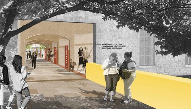 San Antonio Conservation Society Alamo Museum massing study released May 7, 2019. Crockett block entry to pedestrian passage, looking north. - SAN ANTONIO CONSERVATION SOCIETY / ALAMO ARCHITECTS