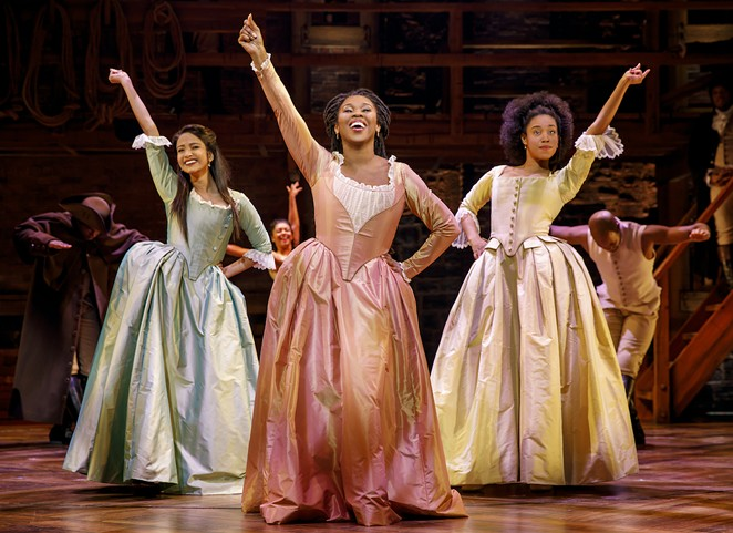 Shoba Narayan, Ta'Rea Campbell and Nyla Sostre in the national tour of Hamilton - JOAN MARCUS
