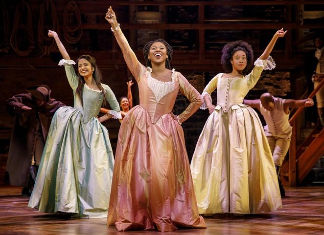 Shoba Narayan, Ta'Rea Campbell and Nyla Sostre in the national tour of Hamilton - JOAN MARCUS