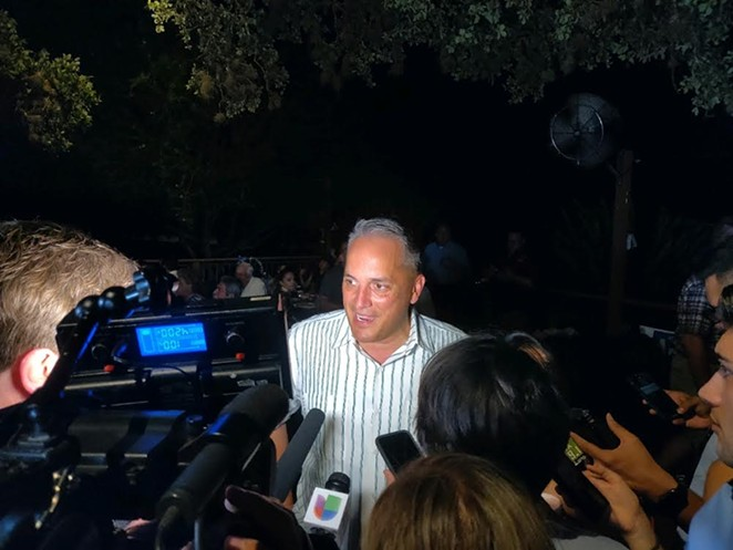 Greg Brockhouse speaks to the media at his watch party. - JADE ESTEBAN ESTRADA