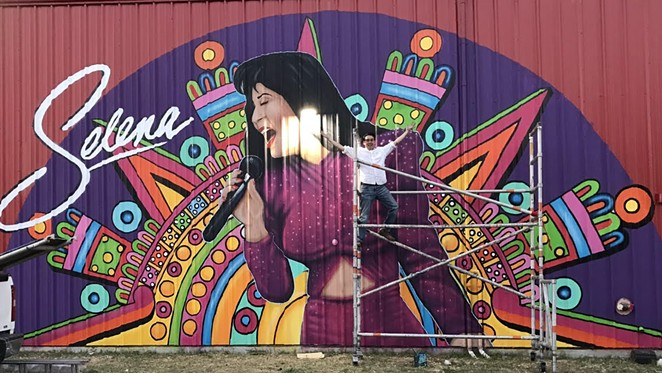 One of SA's newest Selena murals is located on the Alamo Candy wall. - ALAN CALVO