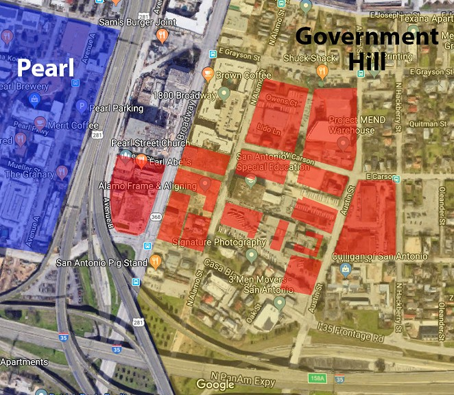This map, which was created based on materials found at broadwayeastsa.com, shows the Broadway East development (in red) in relation to the Government Hill neighborhood, which is east of the Pearl. - GOOGLE MAPS / SAN ANTONIO HERON