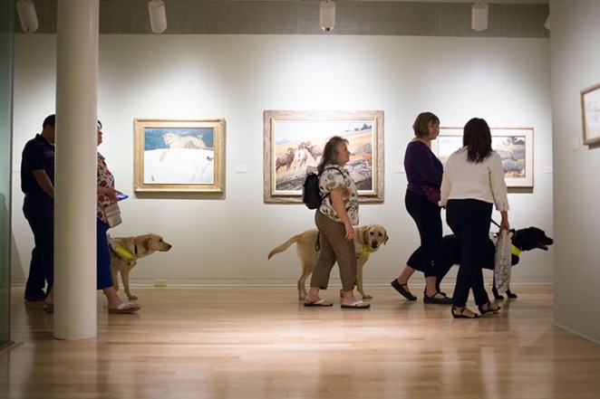 Visitors with visual impairments explore the museum with their guide dogs. - COURTESY SAN ANTONIO MUSEUM OF ART