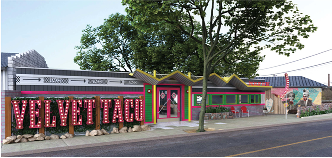 This rendering filed with the City of San Antonio shows Velvet Taco's proposed redesign of the building that once housed storied venue Taco Land. - CITY OF SAN ANTONIO