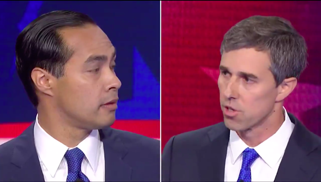 Julian Castro and Beto O'Rourke share a split-screen moment during Wednesday's Democratic debate. - SCREEN CAPTURE / CNBC