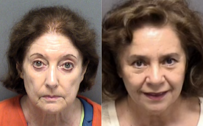 Lesley Wegner and Sylvia Gonzalez, both in their 70s, were on a mission to out Castle Hills City Manager Ryan Rapelye. - BEXAR COUNTY SHERIFF'S OFFICE