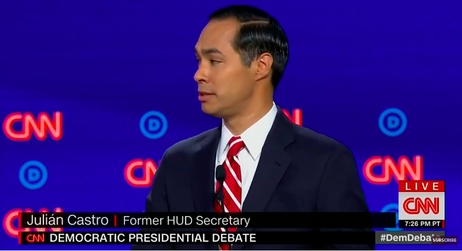 Julián Castro makes a point during the second Democratic presidential debate. - YOUTUBE / CNN