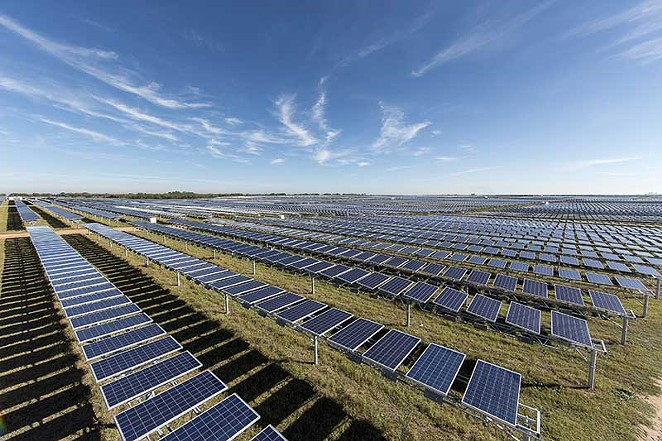 CPS Energy has increasingly relied on green power sources, including this solar array, but environmentalists warn the revised climate plan doesn't push it fast enough. - OCI SOLAR