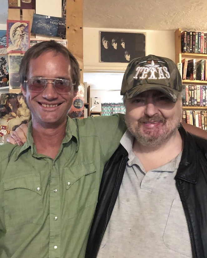 Visual artist Jeff Wheeler (left) on a visit with Johnston at his home in the town of Waller. - MICHAEL SIEBEN