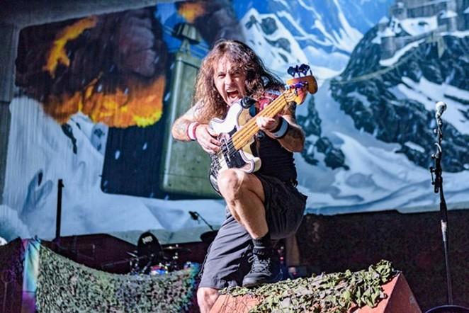 Iron Maiden bassist Steve Harris shoots to kill. - JAIME MONZON