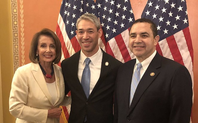 U.S. Rep. Henry Cuellar (right) poses with House Speaker Nancy Pelosi (left) and San Antonio Mayor Ron Nirenberg (center). Nirenberg was Cuellar's guest for the State of the Union address. Cuellar struck a cautionary about supporting impeachment. - TWITTER / REPCUELLAR