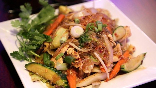 The Woon Sen dish at Thai Lucky: Fried clear noodles with various veggies in a brown Thai sauce. - BEN OLIVO / HERON