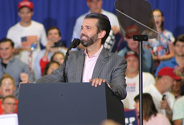Donald Trump Jr. addresses the crowd at a recent rally. - JACKSON A. LANIER / WIKIMEDIA COMMONS