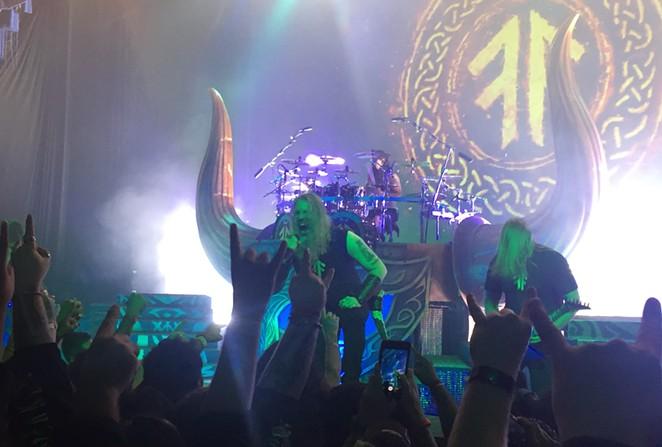 Johan Hegg of Amon Amarth leads his band into battle. - SANFORD NOWLIN