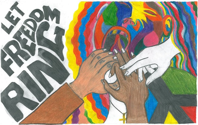 Let Freedom RIng by Amber Medina, winner of the inaugural MLK, Jr. Commission Citywide Artwork Contest - FACEBOOK / SAN ANTONIO MARTIN LUTHER KING, JR. COMMISSION