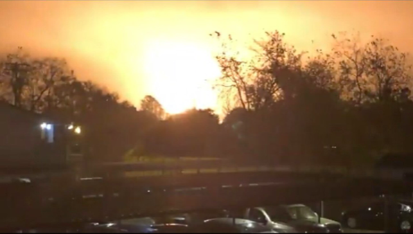 Fire erupts at TPC Group's East Texas chemical plant. - TWITTER / @OMARKHAMZA
