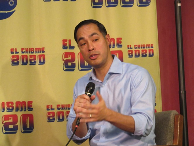 Julian Castro answer a question during a recent San Antonio appearance. - SANFORD NOWLIN