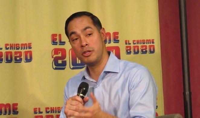 Julián Castro addresses the crowd during a recent San Antonio campaign stop. - SANFORD NOWLIN