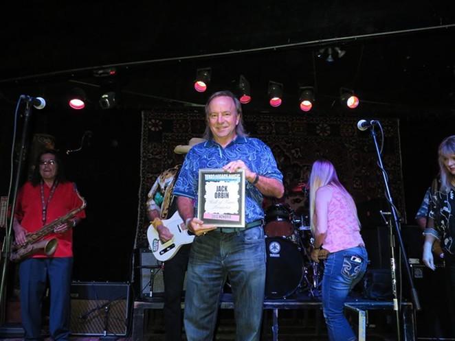 Jack Orbin receives the Texas Legacy Music Award at a 2013 ceremony. - FACEBOOK / JACK ORBIN