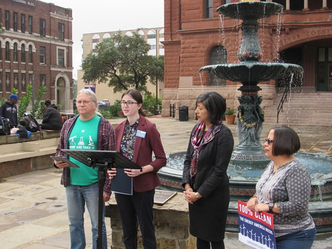 Members of Texas environmental organizations and Councilmember Ana Sandoval (second from right) discuss a new report on San Antonio's air quality in front of the Bexar County Courthouse. - SANFORD NOWLIN
