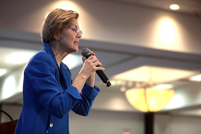 Warren speaks at a 2020 campaign event in Iowa. - WIKIMEDIA COMMONS / GAGE SKIDMORE