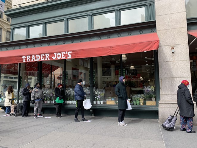 A line at a Trader Joe's location in New York City - TWITTER / ENGLANDPAULA