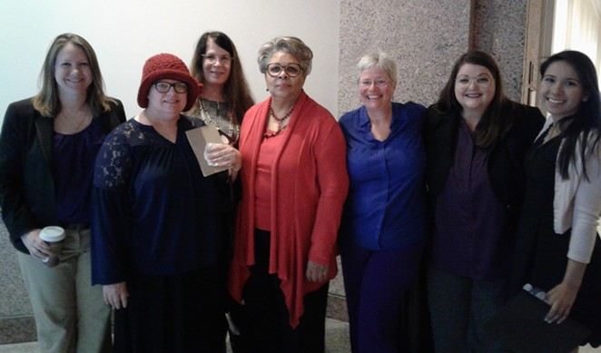 HB 3078 co-author State Rep. Senfronia Thompson (middle) meets with advocates during the 2019 legislative session. - COURTESY OF CATHY MARSTON