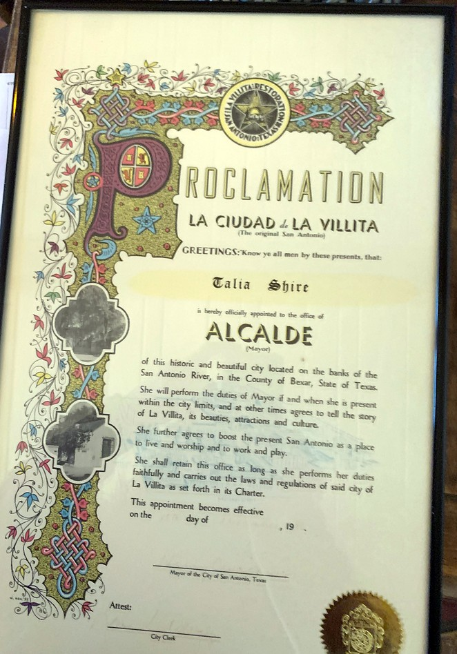 The official proclamation presented to actress Taila Shire in 1986 making her an honorary mayor by then-San Antonio mayor Henry Cisneros. - TALIA SHIRE