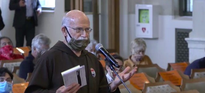 COPS/Metro Alliance's Father Bill Kraus speaks to council about the need for jobs training. - SCREEN CAPTURE / TVSA