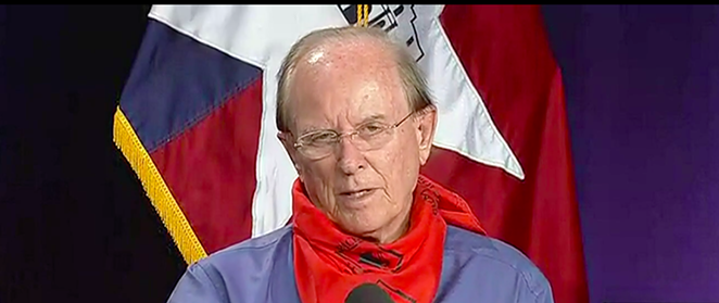 County Judge Nelson Wolff speaks during a recent coronavirus press briefing. - SCREEN CAPTURE / KSAT 12
