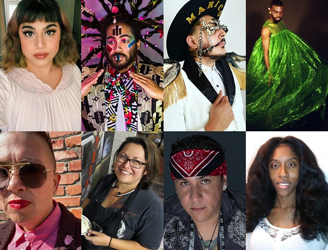 Clockwise from top left: LGBTQ+ San Antonio creatives Polly Anna Rocha, Darian Donovan Thomas, Jose Villalobos, Daiquonne Lanier, Aamori Olujimi, Golden Skyy, Ana Fernandez and Anel I. Flores