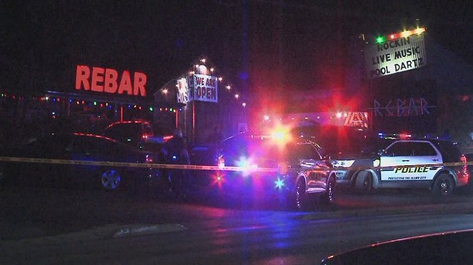 Police cordoned off the area around North Side nightspot Rebar after the shooting. - TWITTER / @RAULBRINDIS