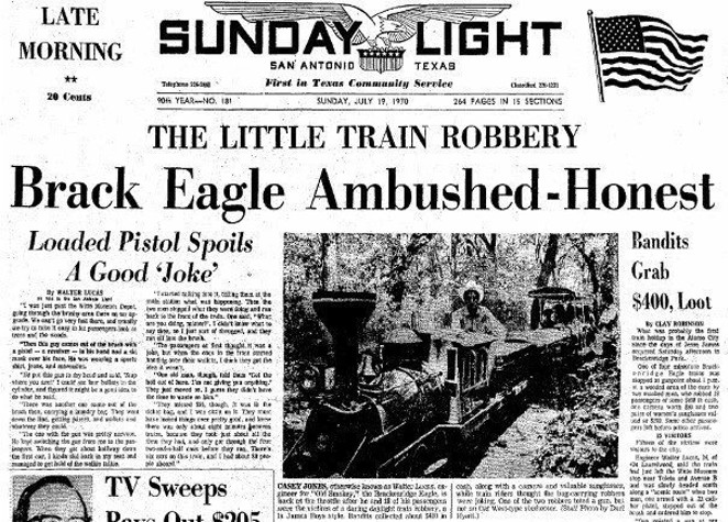 An article about the robbery published on the front page of The Light on Sunday, July 19, 1970. - TWITTER / THEHISTORYOFTX