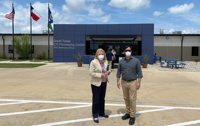 U.S. Reps. Sylvia Garcia and Joaquin Castro stand in front of the Dilley detention site. - TWITTER / REPSYLVIAGARCIA