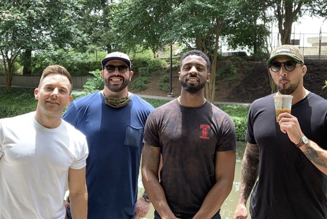From left to right: Stevie Blue Eyes, Jay Schaub (Brendan's brother), Malik Bazille and Brendan Schaub on the River Walk on Saturday, June 27. Not pictured: Bryan Callen. - INSTAGRAM / BRENDANSCHAUB