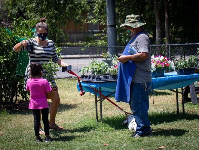 Para Para Plants' Antonio Noriega III helps a customer. - KATIE HENNESSEY