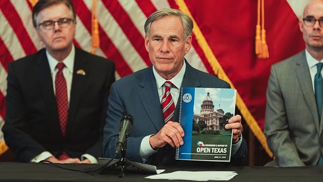 Gov. Greg Abbott shows off his reopening plan during a recent press conference. - INSTAGRAM / @GOVERNORABBOTT