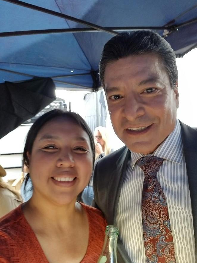 Amelia Rico (left) with Yellowstone star and San Antonio native Gil Birmingham. - COURTESY OF AMELIA RICO