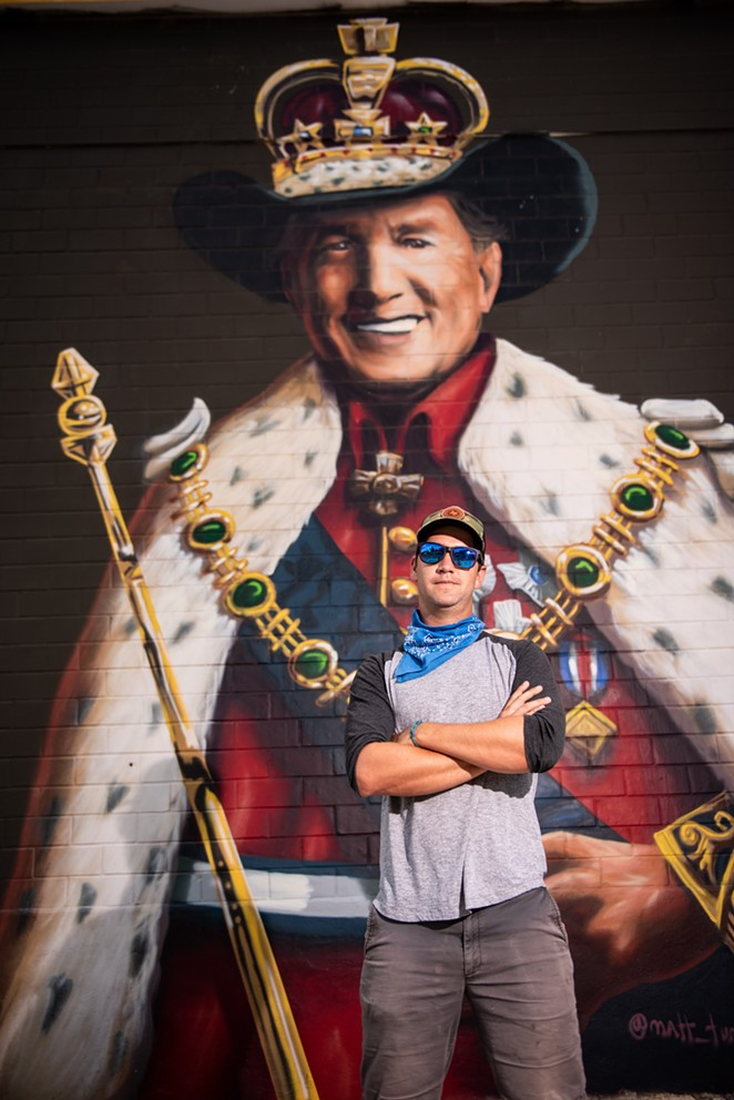 Tumlinson added his George Strait mural to the nightlife district as part of a project painting Texas musical icons on walls across the state. - JAIME MONZON