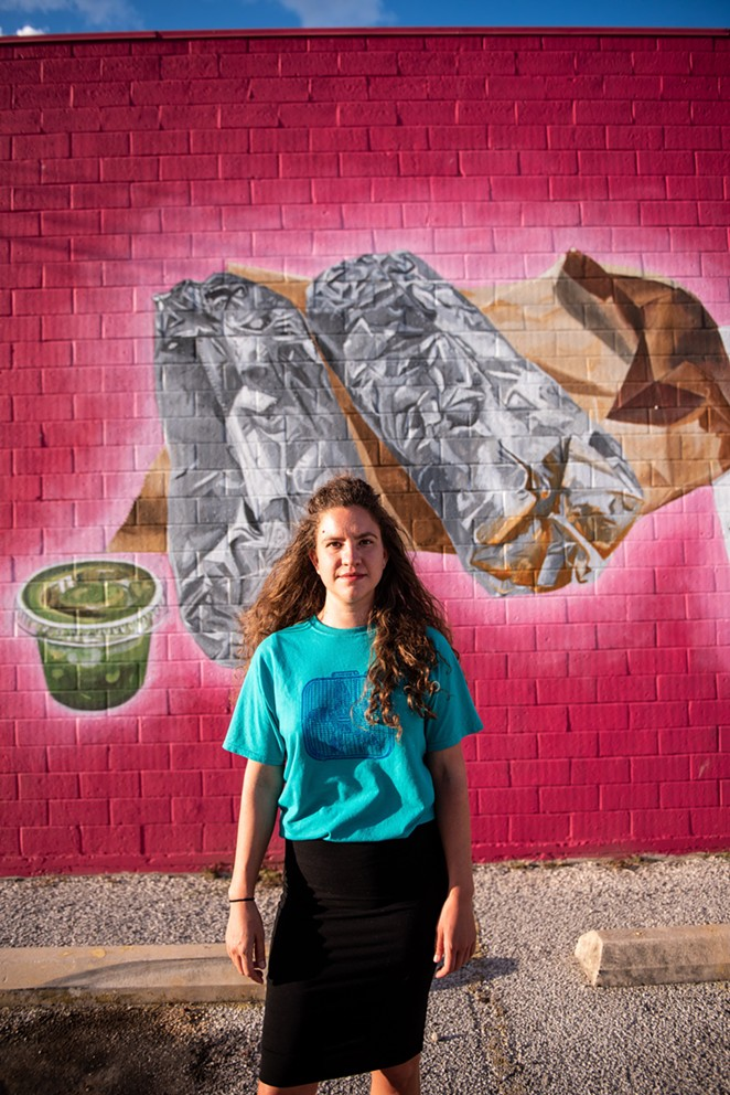 """Sanchez had just five days to complete """"The Morning After: Plan A,"""" her first large-scale mural. - JAIME MONZON"""
