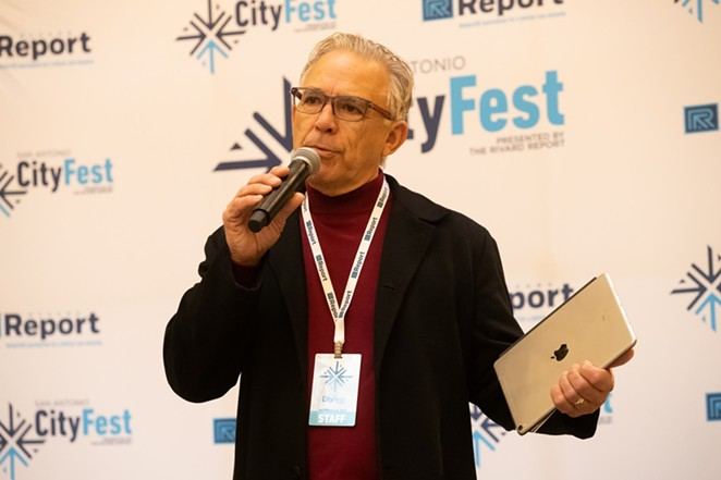 Rivard Report Publisher and Editor Bob Rivard speaks at a public event. Apparently, even as he scales back his management role, he'll continue to utilize his gift of gab. - FACEBOOK / SAN ANTONIO REPORT