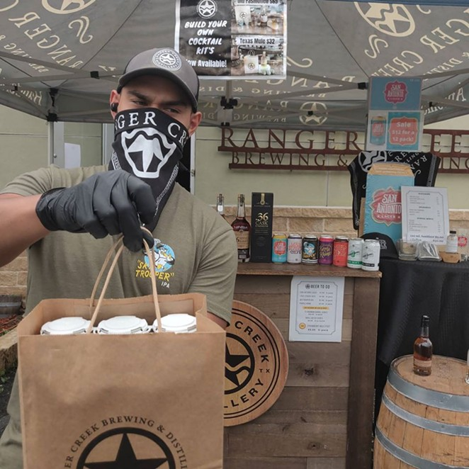 A Ranger Creek worker fills curbside orders. Brewers have relied on curbside to weather the pandemic. - FACEBOOK / RANGER CREEK BREWING & DISTILLING